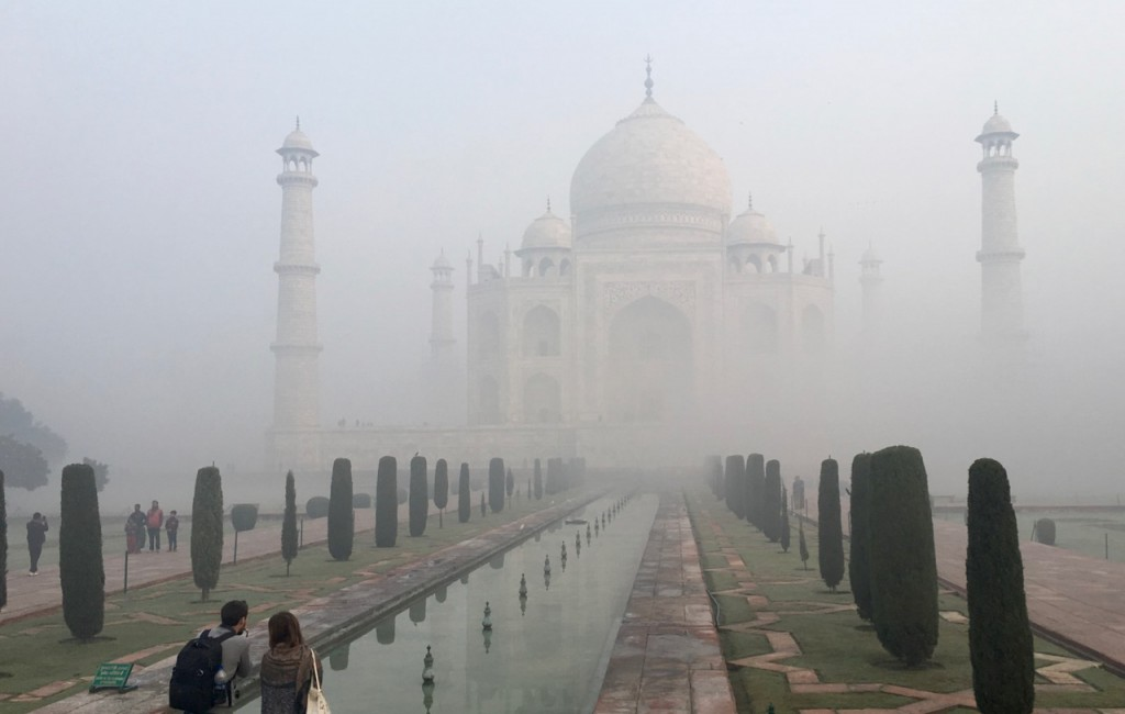 In the winter, the smoke and other pollution in northern India combines with cool nighttime temperatures to create smog. Here is a shot of the Taj Mahal, India's most famous landmark, on a December morning as the smog lifts.